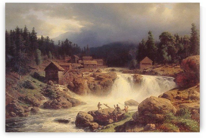 Norwegian landscape by Hermann Ottomar Herzog