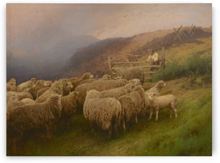 Landscape with sheep by Hermann Ottomar Herzog