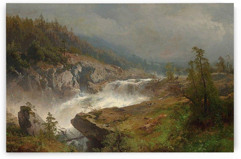 Raging river by Hermann Ottomar Herzog