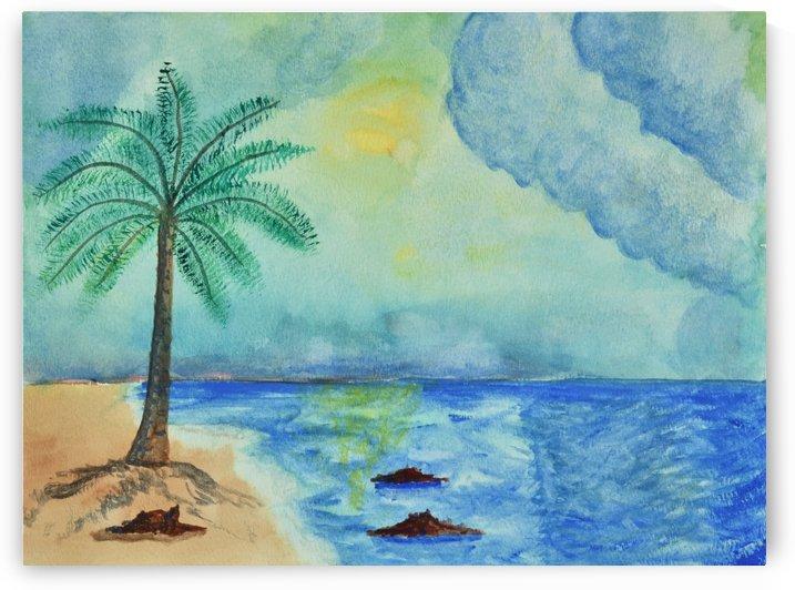 Aqua Sky Ocean Scene by Linda Brody