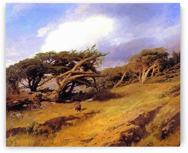 Monterey pines with bears by Hermann Ottomar Herzog