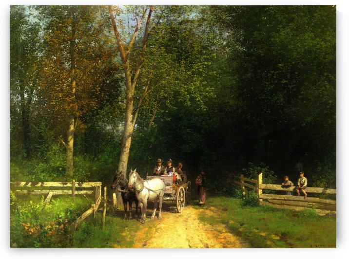 A country home by Hermann Ottomar Herzog