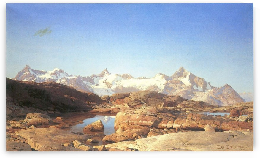 A lake surrounded by mountains by Eugen Bracht