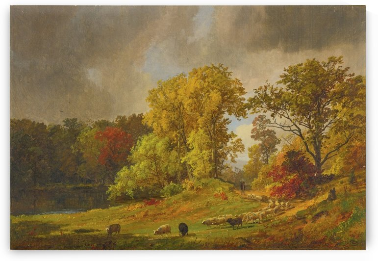 A sheperd and his heard by Jasper Francis Cropsey