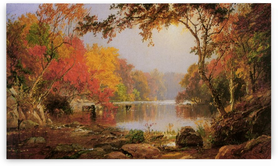 River Landscape in Autumn by Jasper Francis Cropsey