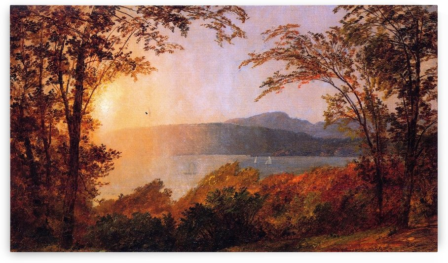 Sunset Hudson River by Jasper Francis Cropsey