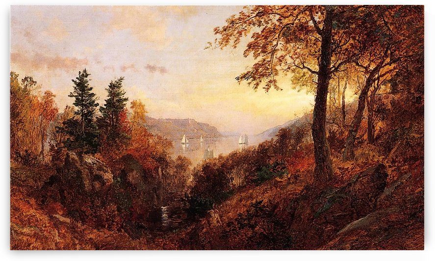 Autumn Landscape with boats by Jasper Francis Cropsey