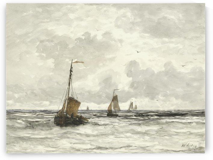 Vissersschepen in de branding by Hendrik Willem Mesdag