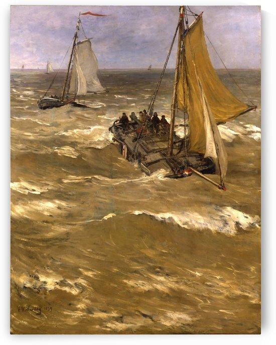 Return fishing ships Sun by Hendrik Willem Mesdag