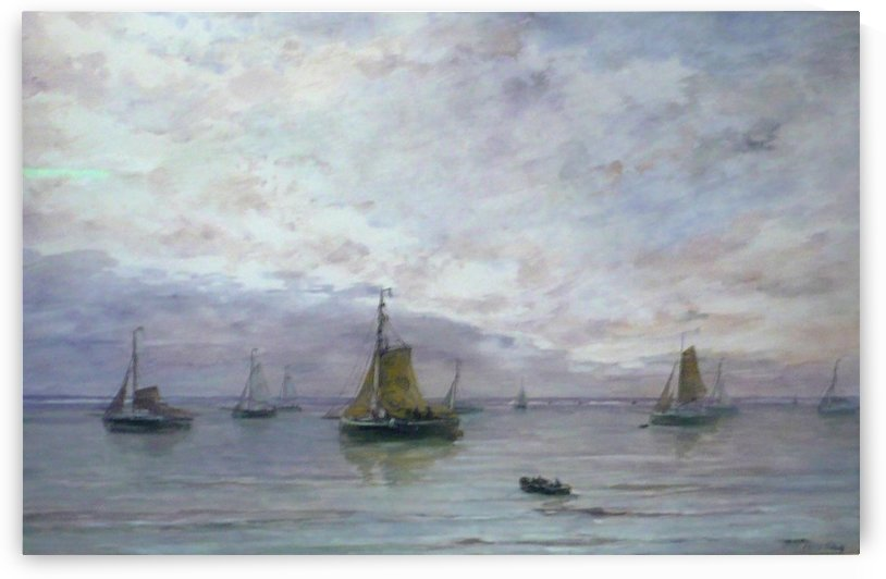 Ships on anchor by Hendrik Willem Mesdag