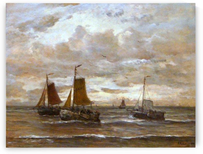 Zonsondergang by Hendrik Willem Mesdag