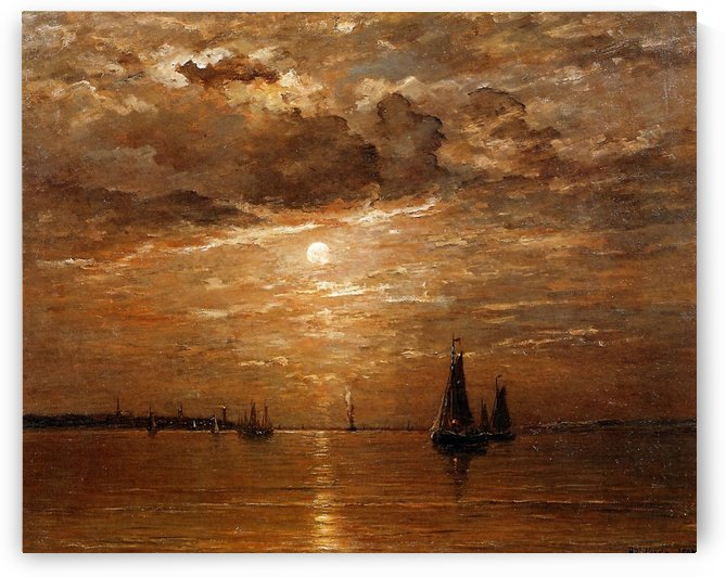 Moon over sea Sun by Hendrik Willem Mesdag