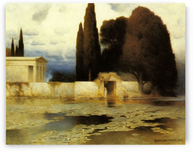 Landscape of a house by Ferdinand Keller