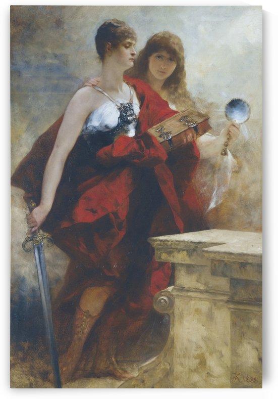 Two women doing magic by Ferdinand Keller