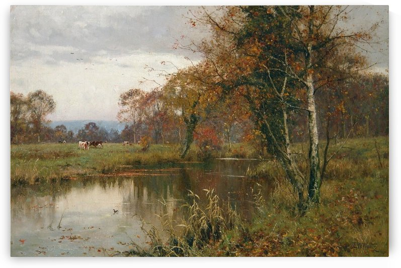 Autumn Landscape with a river by Edward Wilkins Waite