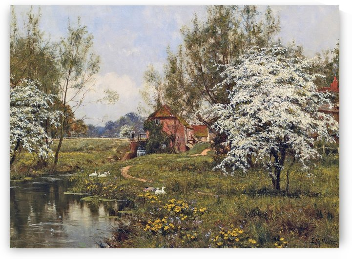 The Mill Cottage in Spring with a river by Edward Wilkins Waite