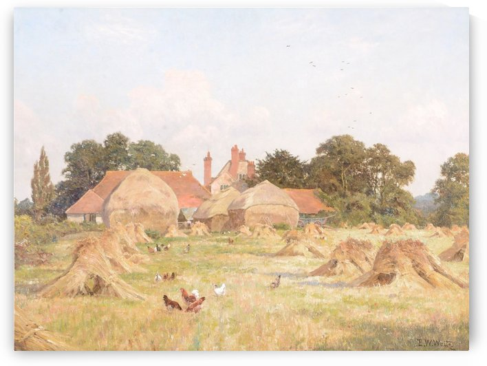 Hay Stooks with chickens by Edward Wilkins Waite
