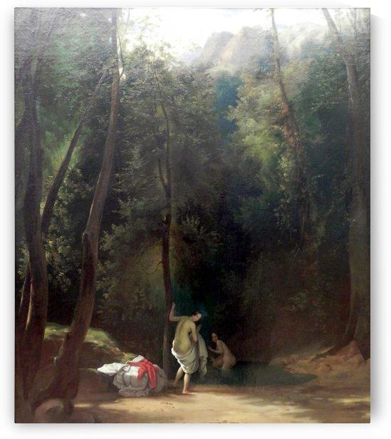 Badende Madchen im Park von Terni by Carl Eduard Ferdinand Blechen