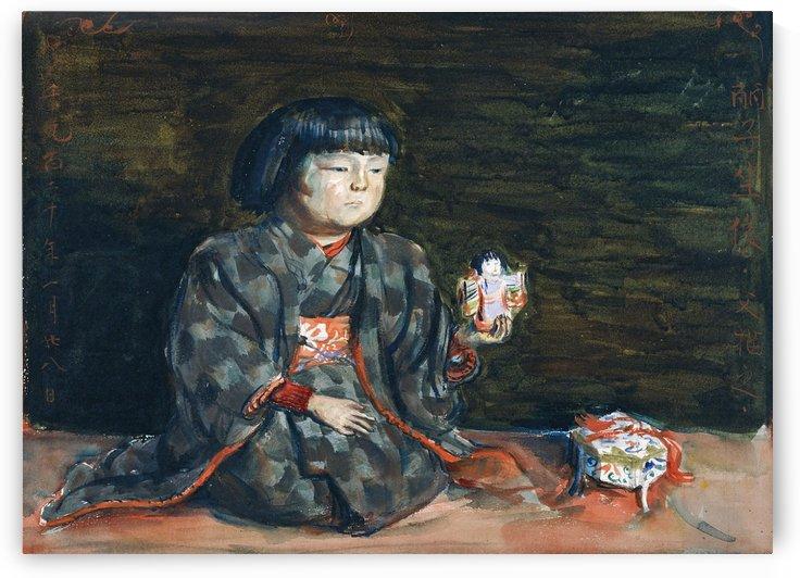 Seated Portrait of Reiko with a Doll by Okada Saburosuke