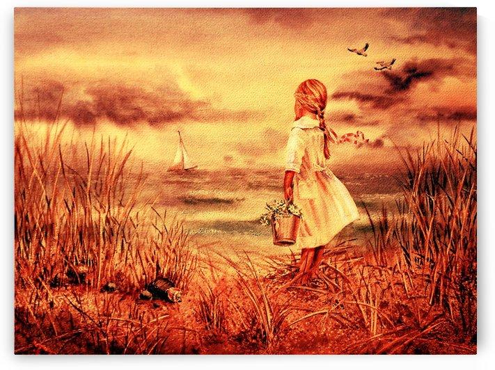 Girl At The Ocean Vintage Style by Irina Sztukowski