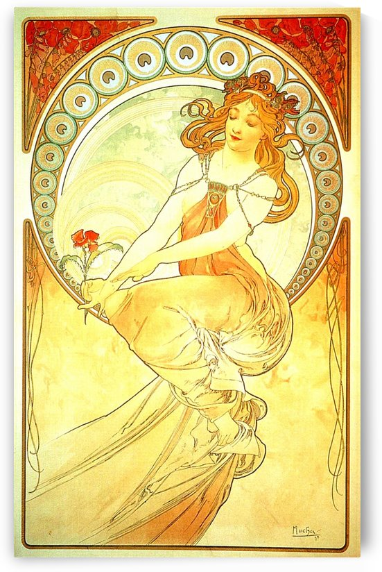 Girl with red flower by Alphonse Mucha