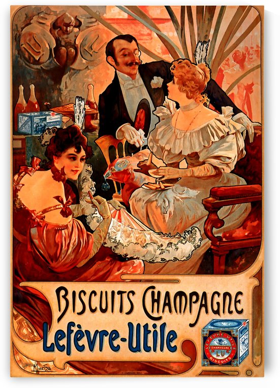 Biscuits Champagne, Lefevre-Utile by Alphonse Mucha