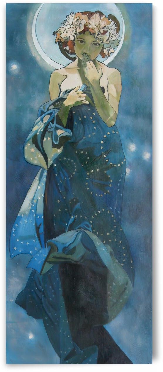 Moon and stars by Alphonse Mucha