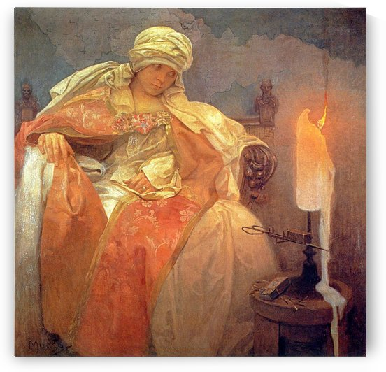 Woman with a burning candle, 1933 by Alphonse Mucha