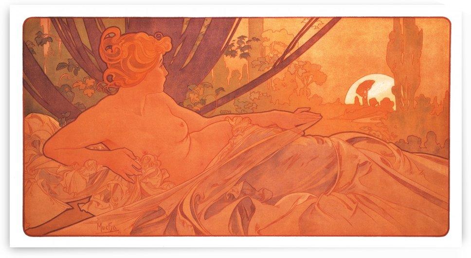 Naked woman watching the sun by Alphonse Mucha