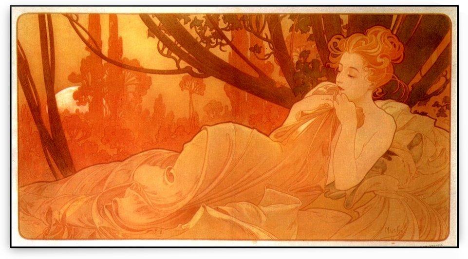 Naked woman at sunset by Alphonse Mucha