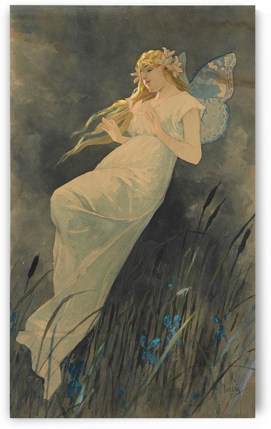 Elf with Iris by Alphonse Mucha