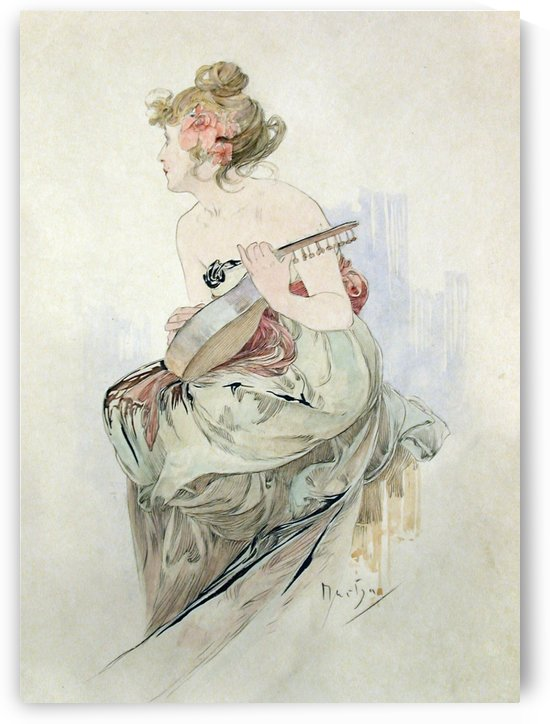 Portrait of a lady playing the violin by Alphonse Mucha