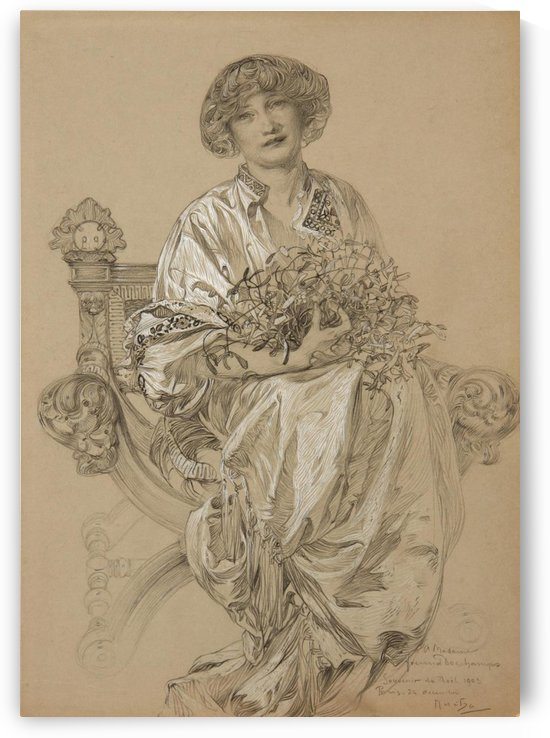 1903 Portrait of Madame Deschamps by Alphonse Mucha