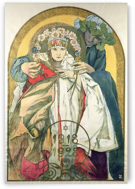 1928 official poster celebrating the 10th anniversary of the founding of Czechoslovakia in 1918 by Alphonse Mucha