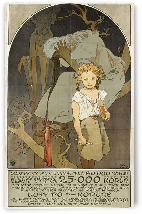 1912 Poster for Lottery of National Unity by Alphonse Mucha