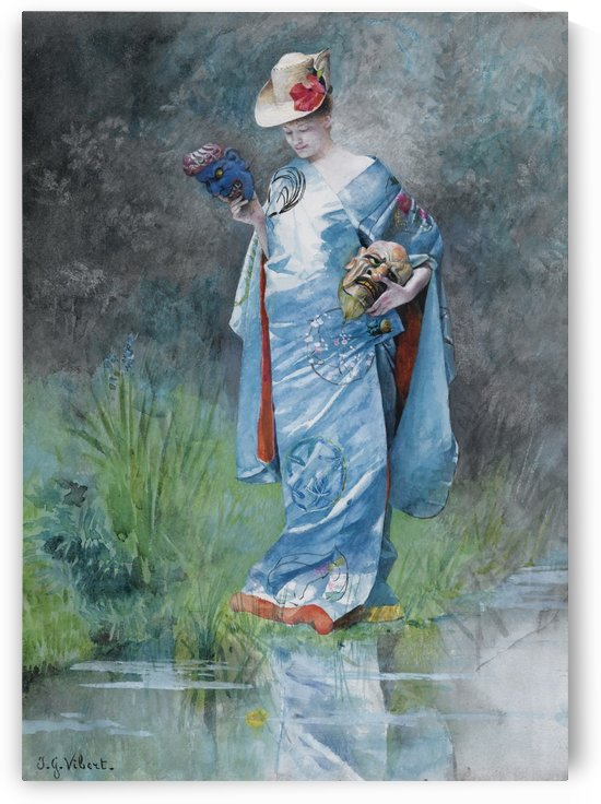 An elegant woman in a blue dress by Jehan Georges Vibert