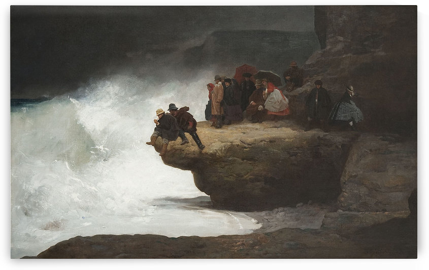 People staring down a cliff by Jehan Georges Vibert