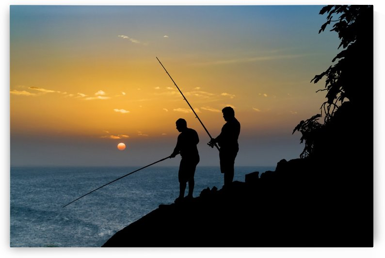 Two Men Fishing at Shore by Daniel Ferreia Leites Ciccarino