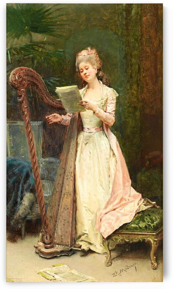 A young woman playing the harp by Ricardo de Madrazo y Garreta