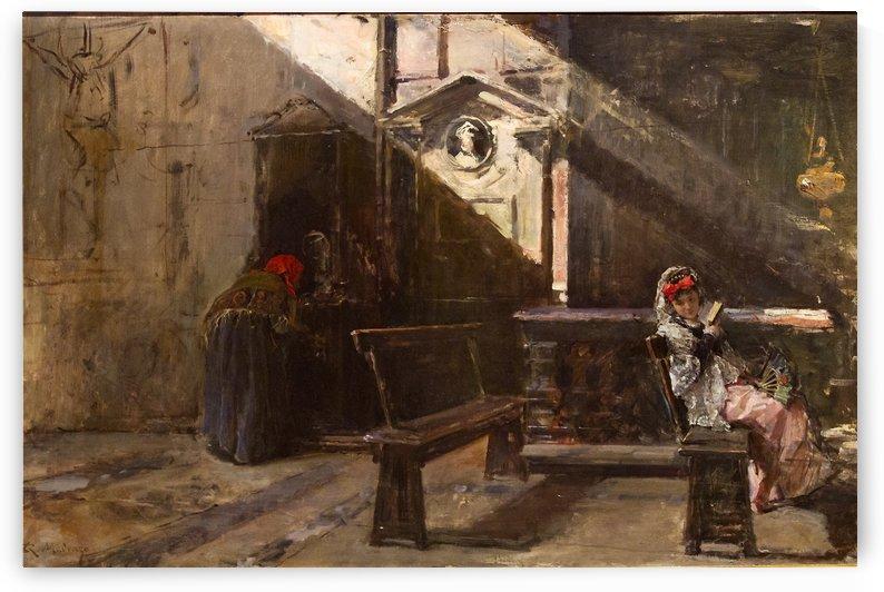 Interior de Iglesia. La Confesion by Ricardo de Madrazo y Garreta