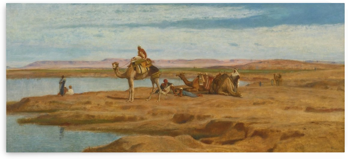 Lots of people by the Oasis by Frederick Goodall