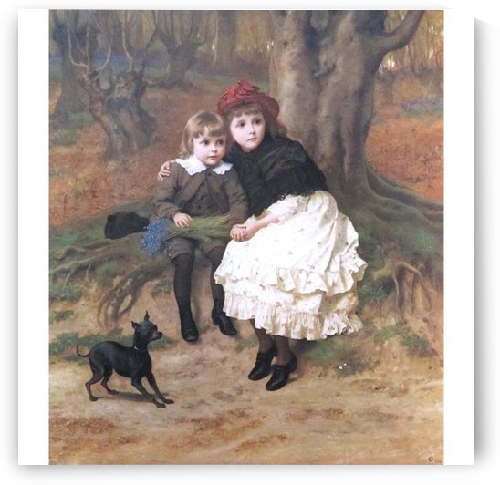 Two children and their dog by Frederick Goodall
