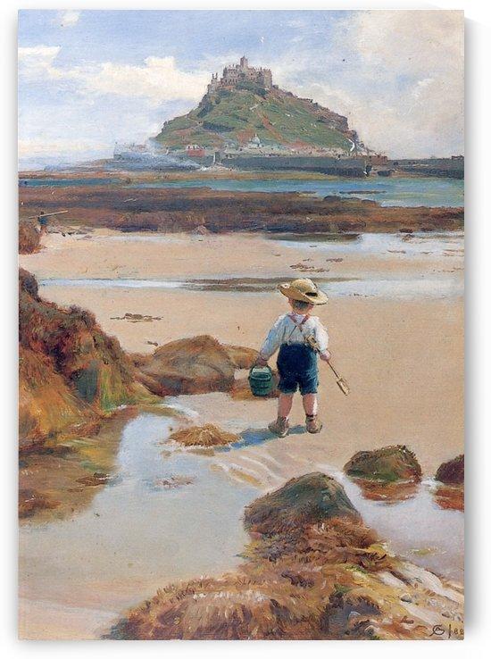 A small boy fishing by Albert Goodwin
