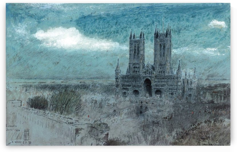 Lincoln Cathedral in the Evening Light by Albert Goodwin