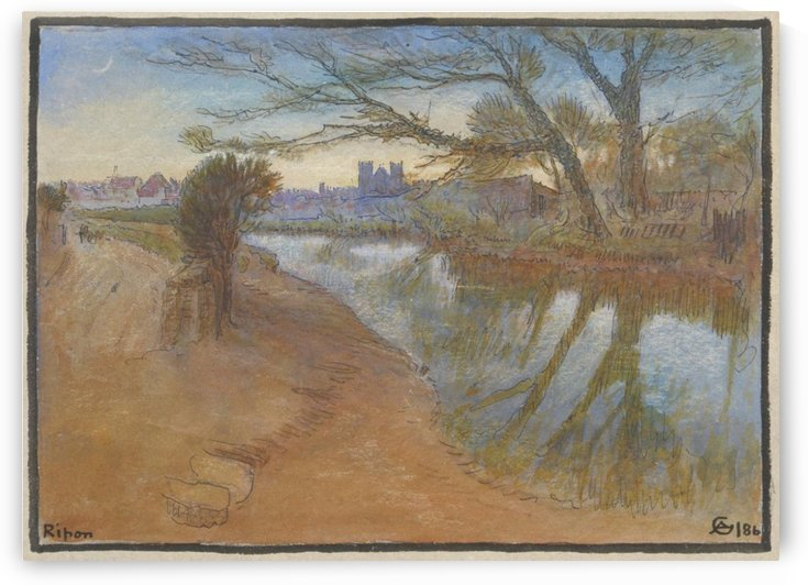 Landscape with a river by the city by Albert Goodwin