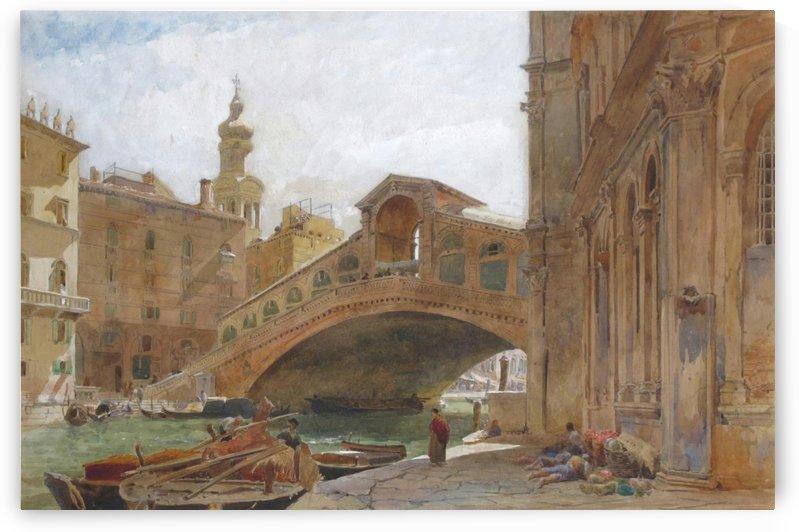 Landscape near a bridge by Edward Angelo Goodall