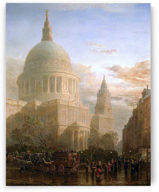 People before a church by Edward Angelo Goodall
