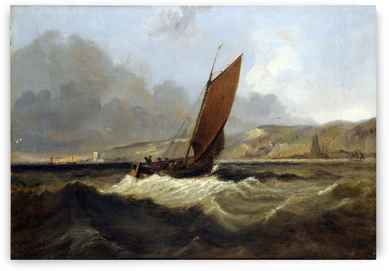 Sailing Boat off the Coast by John Wilson Carmichael