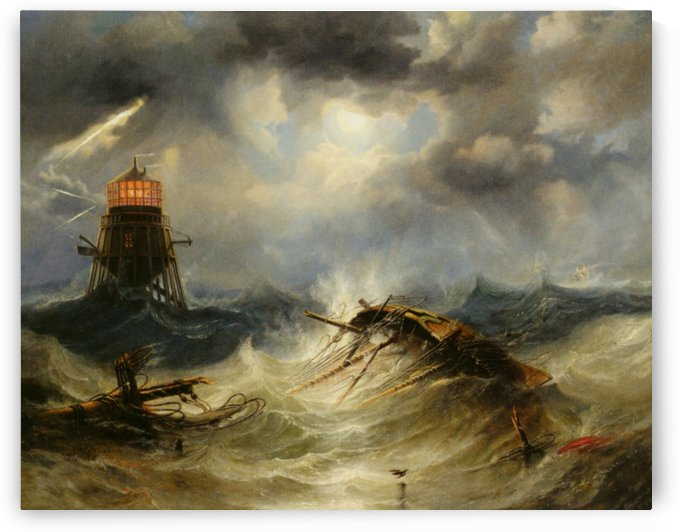 A stormy day on the sea and the lighthouse by John Wilson Carmichael