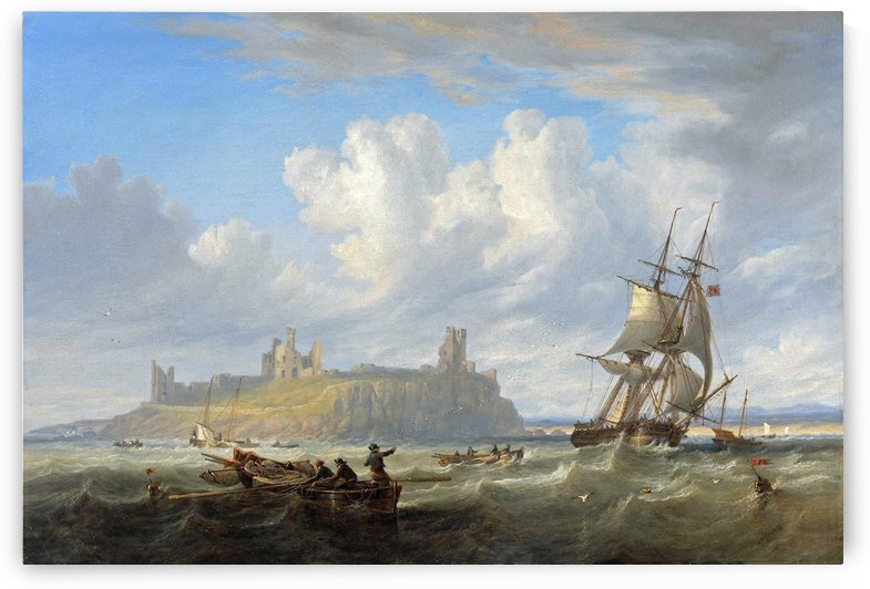 Shipping off Dunstanborough Castle, Northumberland 1844 by John Wilson Carmichael